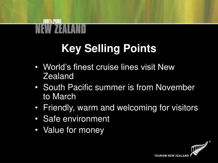 Key selling points
