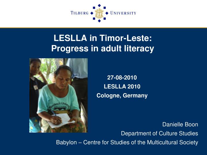 Leslla in timor leste progress in adult literacy
