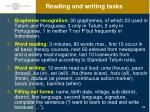 reading and writing tasks