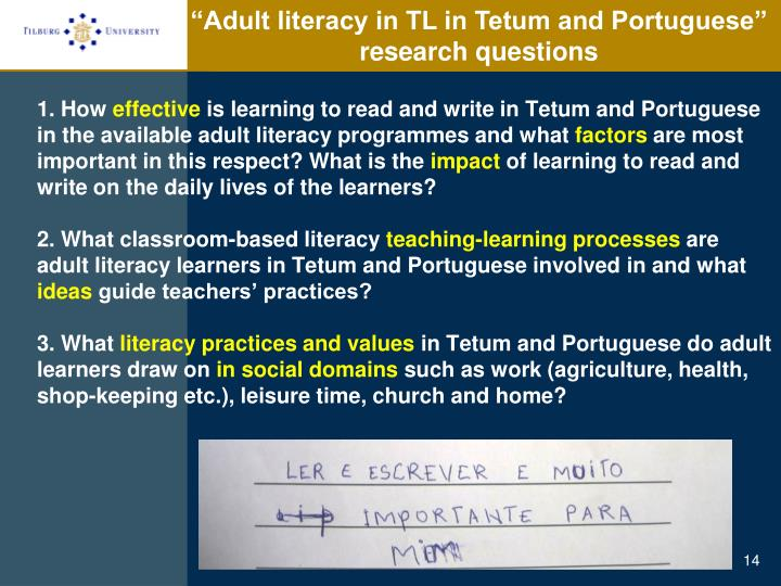 """Adult literacy in TL in Tetum and Portuguese"""