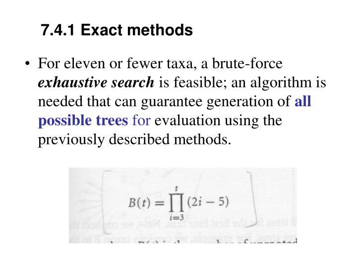 7.4.1 Exact methods