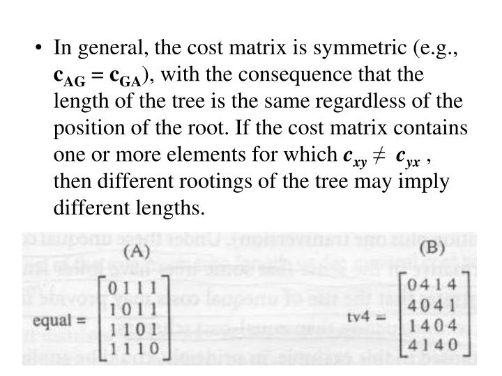 In general, the cost matrix is symmetric (e.g.,