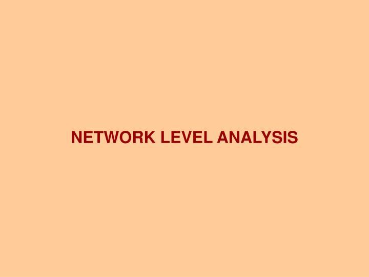NETWORK LEVEL ANALYSIS