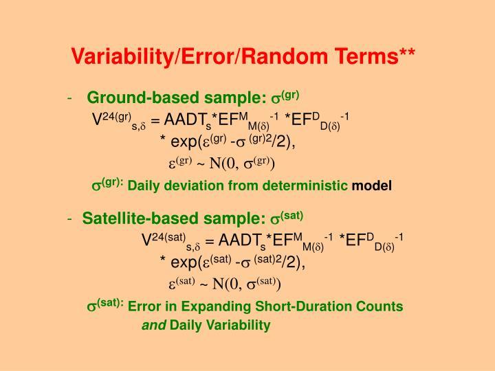 Variability/Error/Random Terms**
