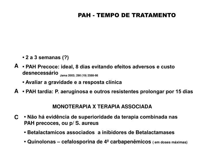 PAH - TEMPO DE TRATAMENTO