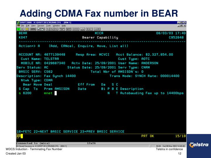 Adding CDMA Fax number in BEAR