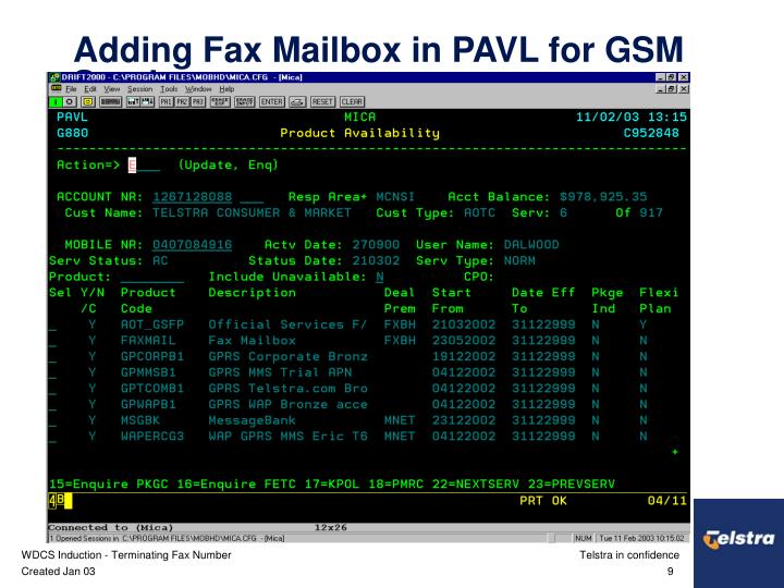 Adding Fax Mailbox in PAVL for GSM Services