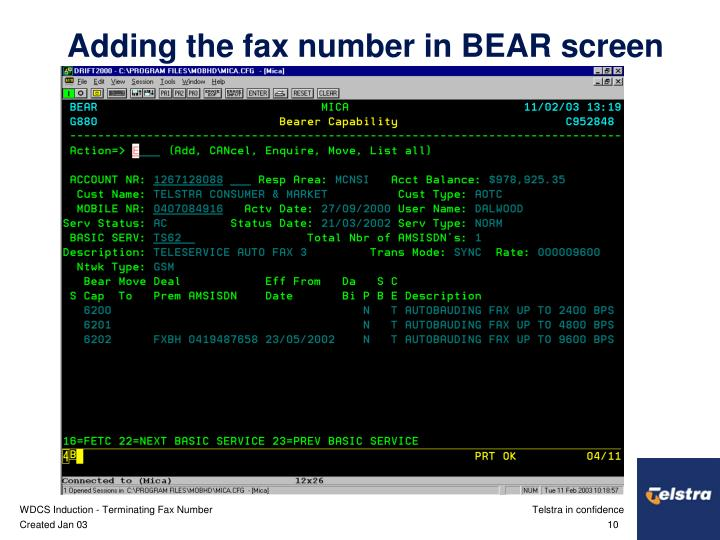 Adding the fax number in BEAR screen