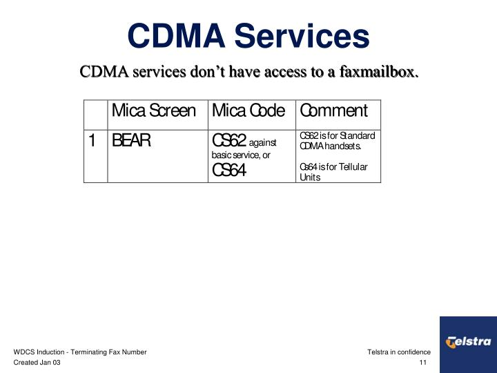 CDMA services don't have access to a faxmailbox.
