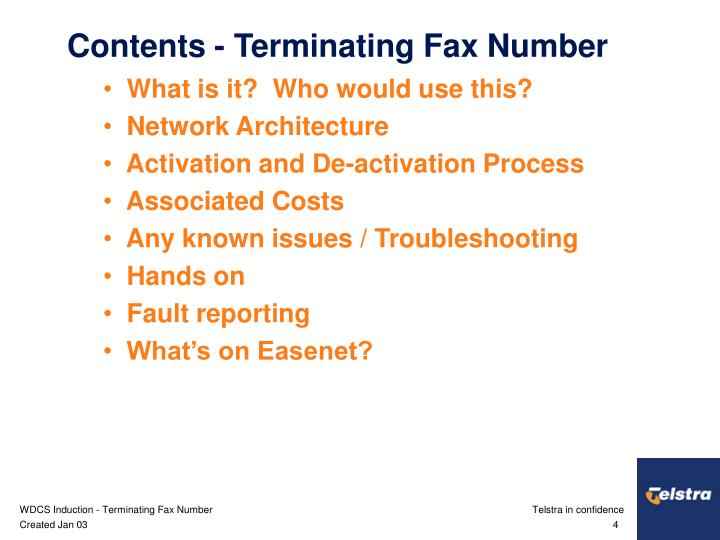 Contents - Terminating Fax Number