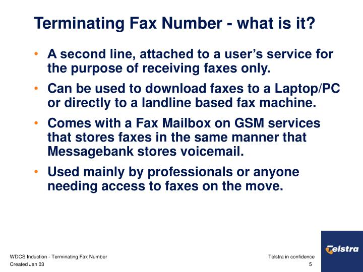 Terminating Fax Number - what is it?