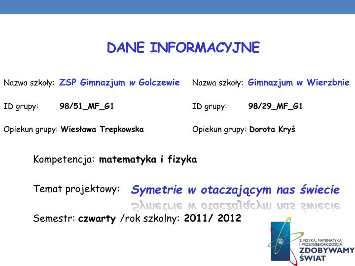 Dane informacyjne