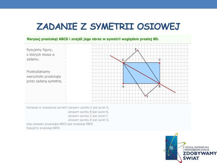 Zadanie z symetrii osiowej
