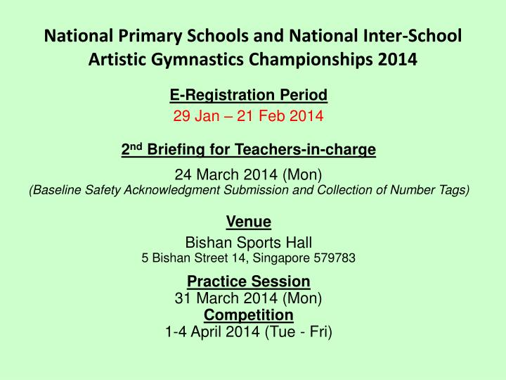 National Primary Schools and National Inter-School Artistic Gymnastics Championships 2014