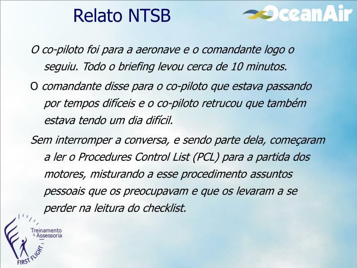 Relato NTSB