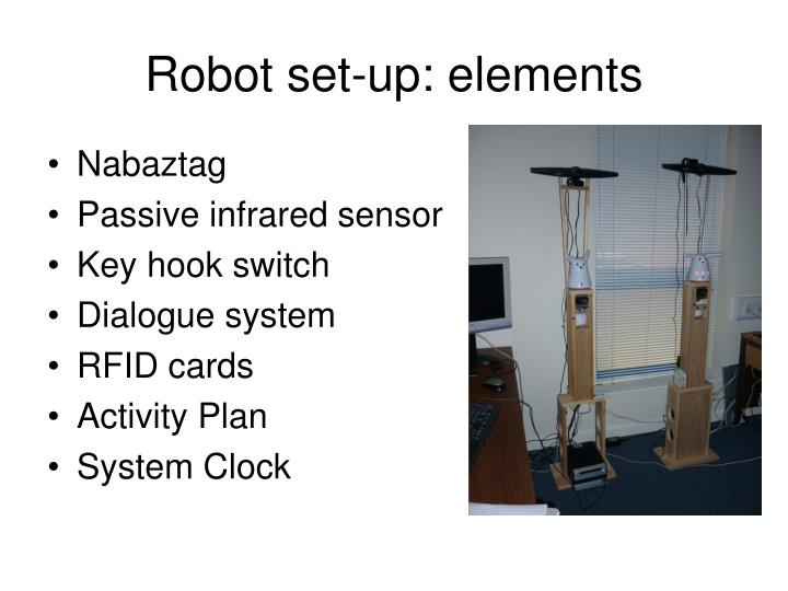 Robot set-up: elements