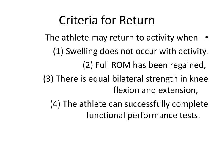 Criteria for Return