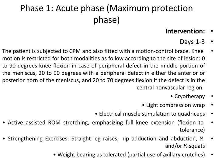 Phase 1: Acute phase (Maximum protection phase)