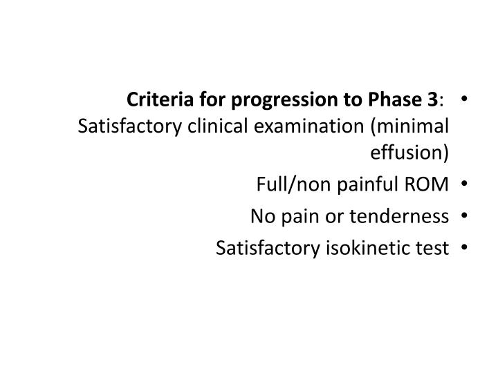 Criteria for progression to Phase 3