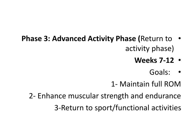 Phase 3: Advanced Activity Phase (