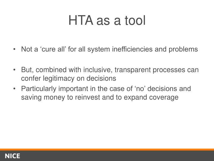HTA as a tool