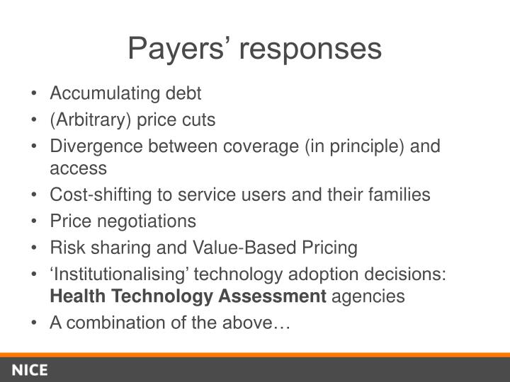 Payers' responses