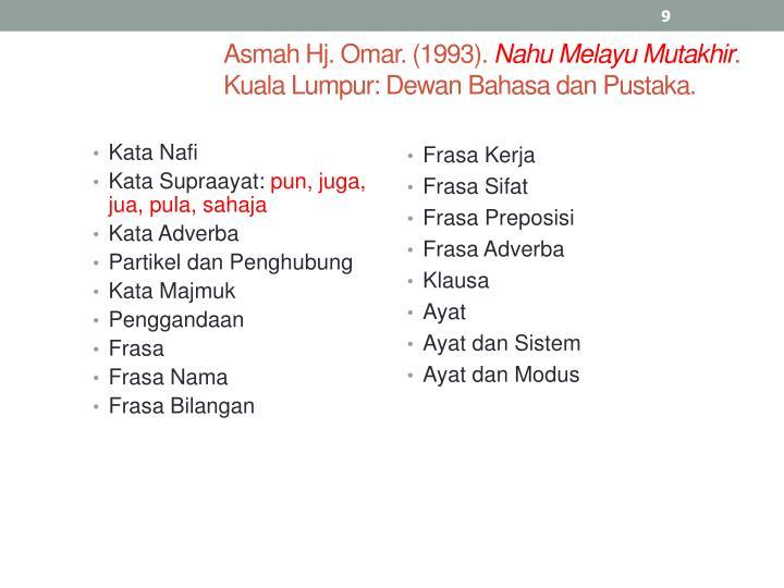 Asmah Hj. Omar. (1993).