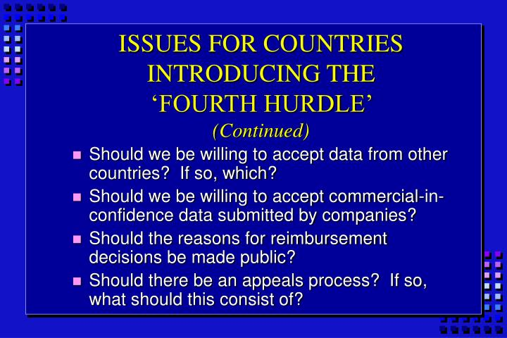 ISSUES FOR COUNTRIES