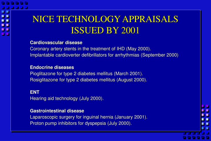 NICE TECHNOLOGY APPRAISALS ISSUED BY 2001