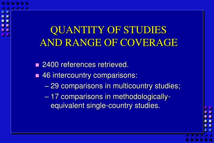 QUANTITY OF STUDIES
