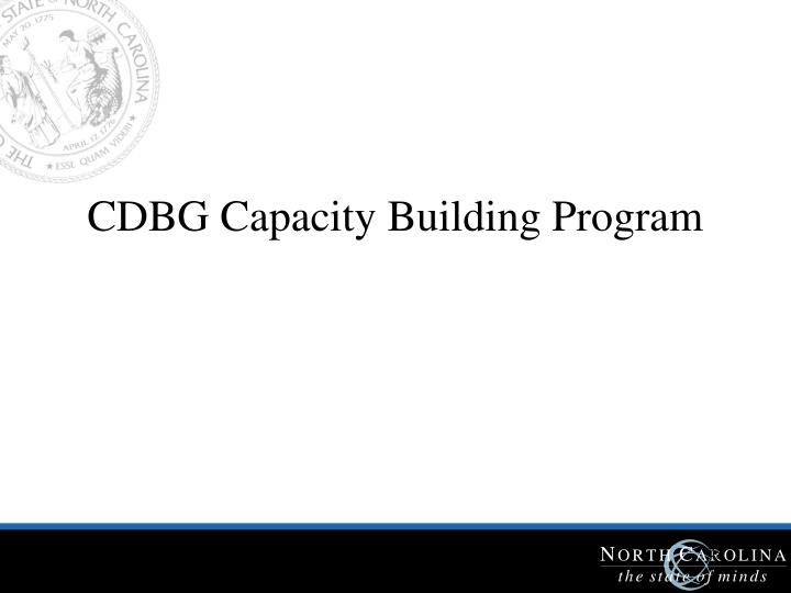 CDBG Capacity Building Program