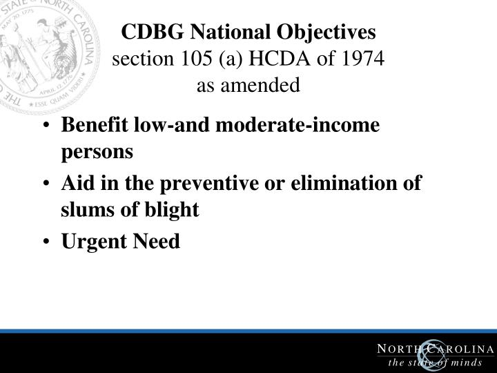 CDBG National Objectives