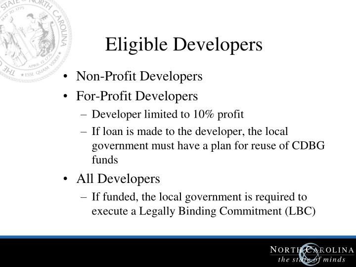 Eligible Developers