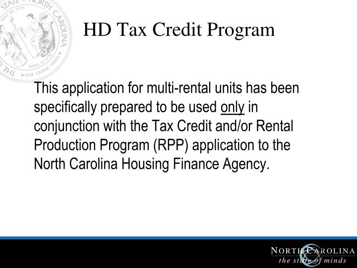 HD Tax Credit Program