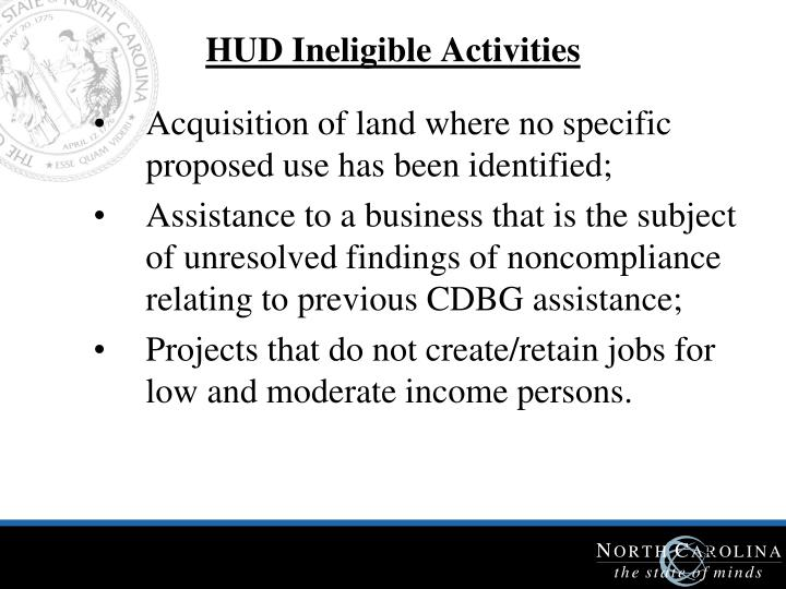 HUD Ineligible Activities