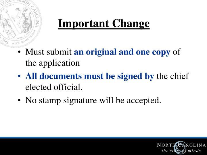 Important Change