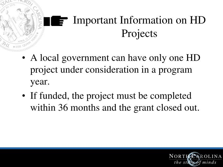 Important Information on HD Projects