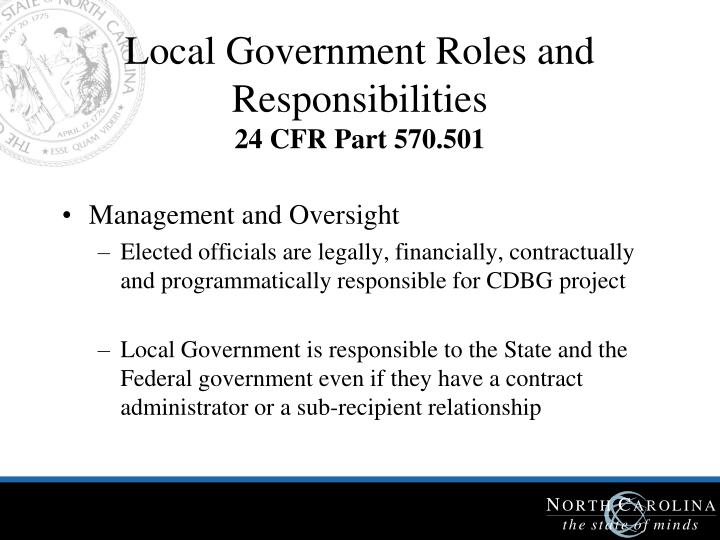 Local Government Roles and Responsibilities