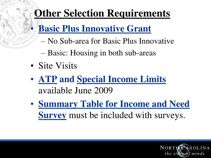 Other Selection Requirements