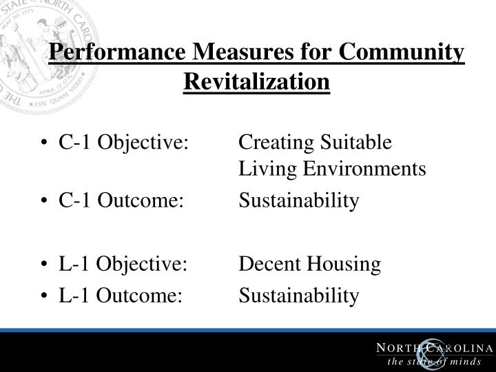 Performance Measures for Community Revitalization