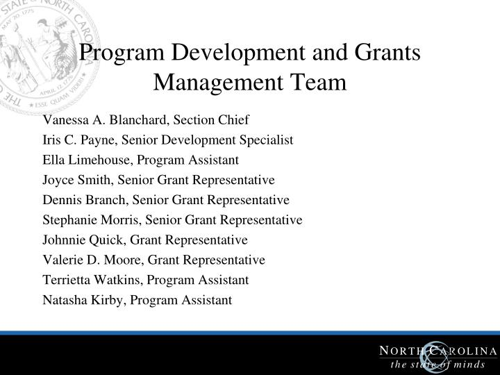 Program Development and Grants Management Team