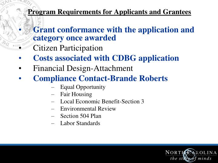 Program Requirements for Applicants and Grantees