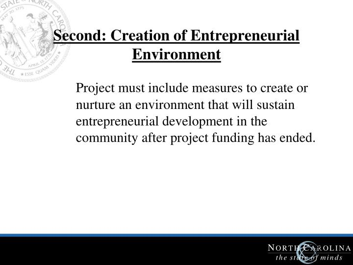 Second: Creation of Entrepreneurial Environment