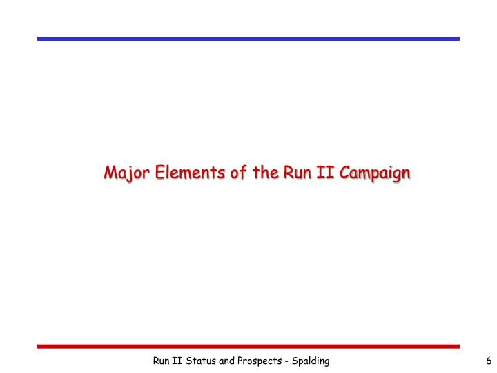 Major Elements of the Run II Campaign