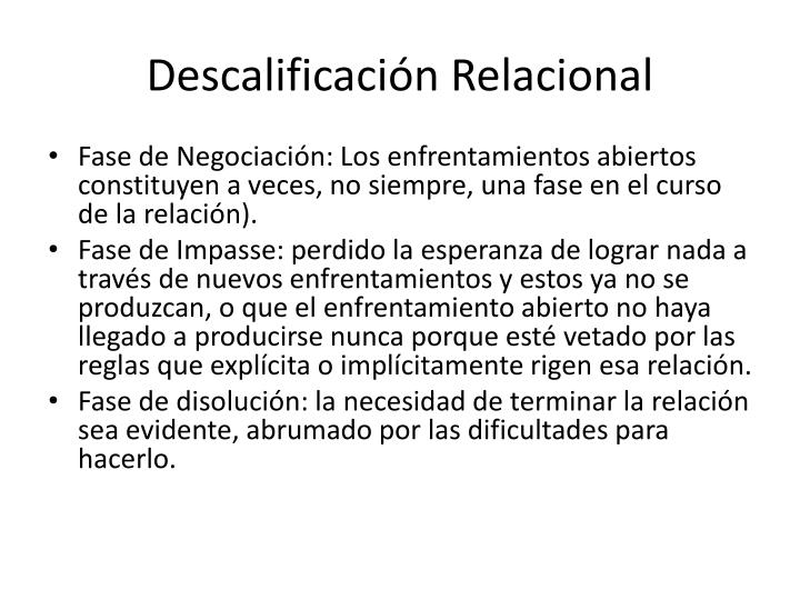 Descalificación Relacional