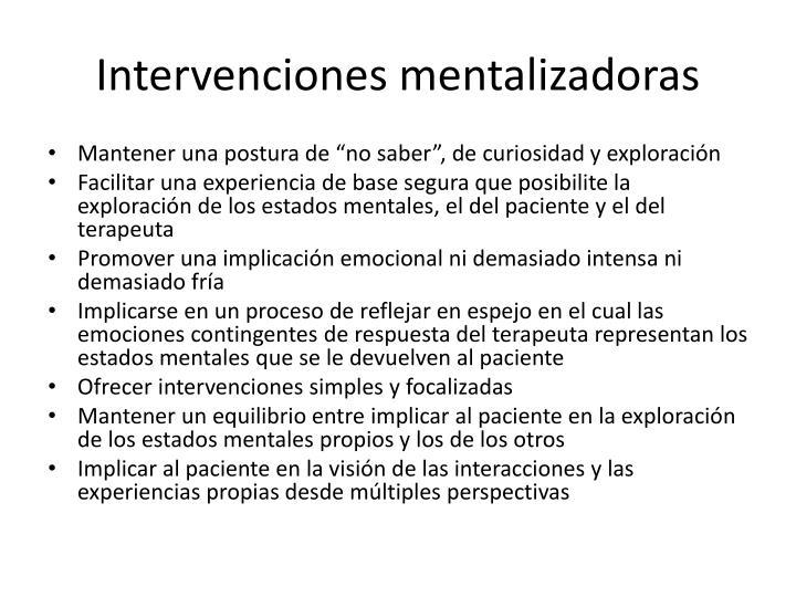 Intervenciones mentalizadoras