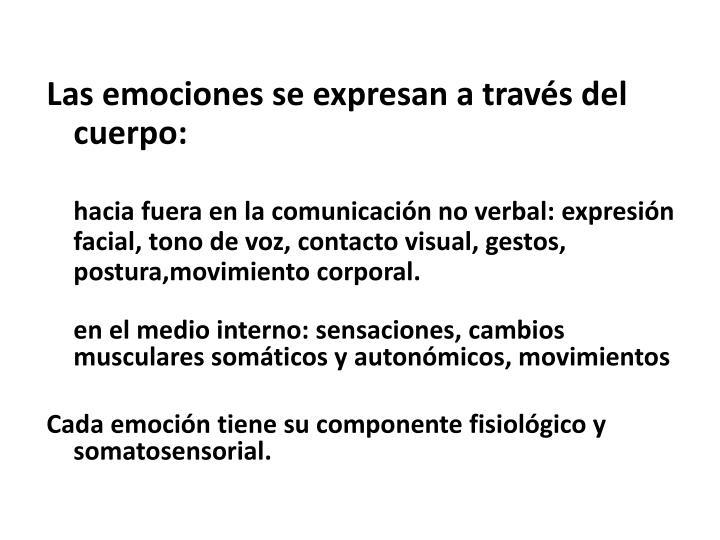 Las emociones se expresan a través del cuerpo: