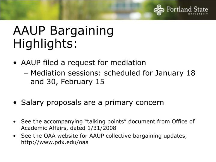 AAUP Bargaining Highlights:
