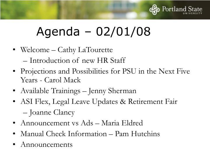 Agenda – 02/01/08