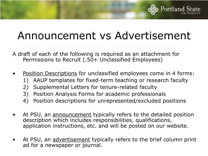 Announcement vs Advertisement